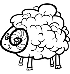 ram cartoon for coloring book vector image