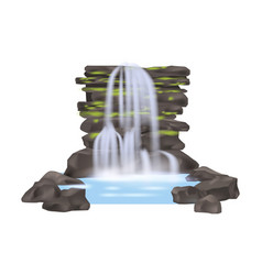 River waterfall isolated icon vector