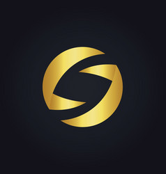 Round circle shape gold logo vector