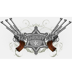 sheriff star with guns vector image