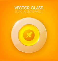 Shiny orange background with circle button vector