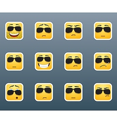 Smile stickers with sunglasses vector