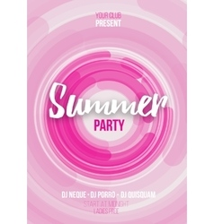 Summer party poster with abstract background vector image