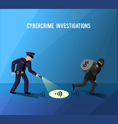 Hackers cybercrime prevention investigation flat vector