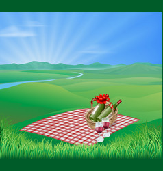 picnic landscape vector image