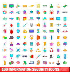 100 information security icons set cartoon style vector