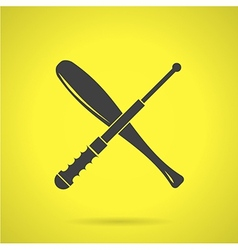 Black crossed baton flat icon vector