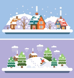 Winter village landscapes vector