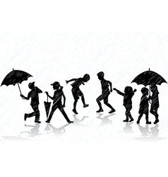 Children enjoy the rain vector