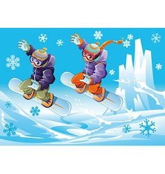 Snowboarding together vector