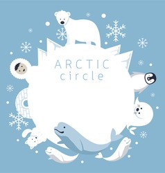 Arctic circle frame animals people vector