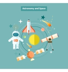 Astronomy and space web page design vector