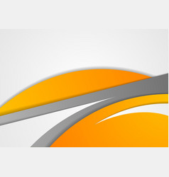 Abstract corporate orange grey wavy background vector image