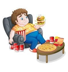 A fat boy eating vector
