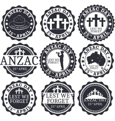 Anzac day Greeting stamp set vector image vector image