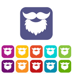 Beard and mustache icons set flat vector