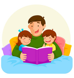 Bedtime story with dad vector
