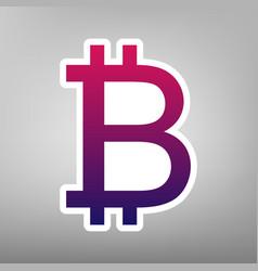 bitcoin sign purple gradient icon on vector image