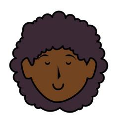 Black beautiful woman head avatar character vector