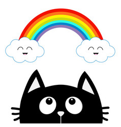 black cat looking up to cloud and rainbow with vector image
