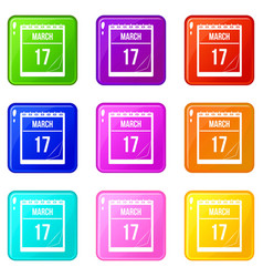 Calendar with date of march 17 icons 9 set vector