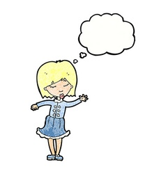 Cartoon waving woman with thought bubble vector