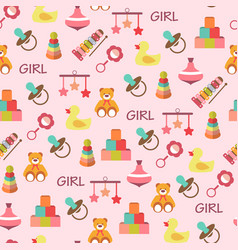 Colorful pattern with different kind of toys vector