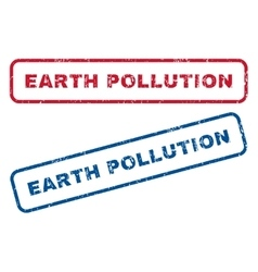 Earth pollution rubber stamps vector
