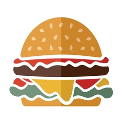 Flat hamburger icon vector