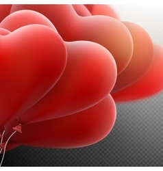 Flying bunch of red hearts balloon EPS 10 vector image vector image