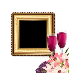Fruit wine and frame vector