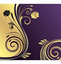 Gold nad purple floral design vector