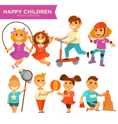 happy children playing outdoor games icons vector image