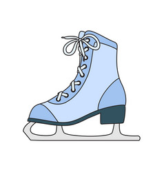 Ice skates line art drawing on white background vector