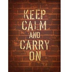 keep calm brick wall vector image