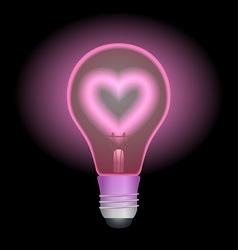 Love light bulb vector image