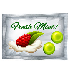 Mint candy in plastic bag vector