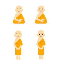 Monk cartoon set peaceful isolated white vector