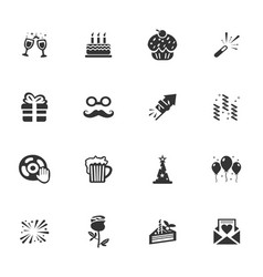 party time icons set vector image vector image