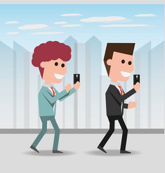 people with smartphone in the hand to digital vector image