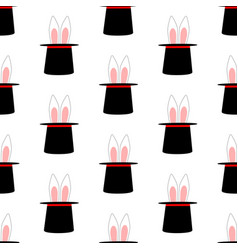 Rabbit ears in magic hat pattern vector