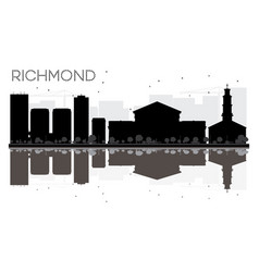 Richmond city skyline black and white silhouette vector