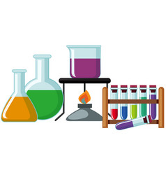 Science beakers with colorful chemical vector