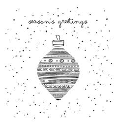 Seasons greetings ethnic bauble card vector