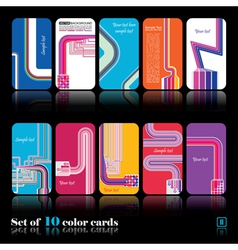 Set of ten abstract card vector image vector image