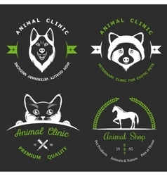 Set of Vintage Logos for Vet Clinic vector image vector image