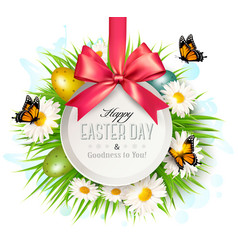 spring easter background easter eggs in grass vector image vector image