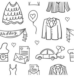 Vetor art of wedding element doodles vector