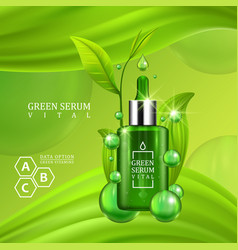 Vital serum dropper bottle decorated with green vector