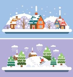 Winter village landscapes vector image vector image